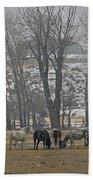 Horses In The Snow   #7940 Beach Towel