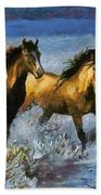 Horses In Water Beach Towel
