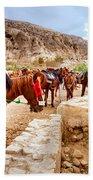Horses Of Petra Beach Towel