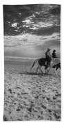 Horses On The Beach Bw Beach Towel