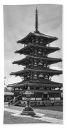 Horyu-ji Temple Pagoda B W - Nara Japan Beach Towel