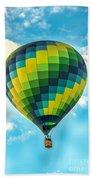 Hot Air Balloon Checkerboard Beach Towel