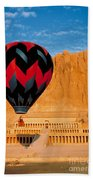 Hot Air Balloon Over Thebes Temple Beach Towel