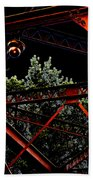 Hot Bridge At Night Beach Towel