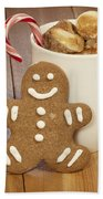 Hot Cocoa And Gingerbread Cookie Beach Towel by Juli Scalzi