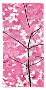 Hot Pink Leaves Melody Beach Towel