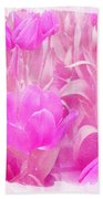 Hot Stuff   In Your Face Pink Tulips Beach Towel