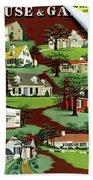 House & Garden Cover Illustration Of 9 Houses Beach Towel