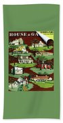 House & Garden Cover Illustration Of 9 Houses Beach Towel