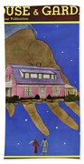 House & Garden Cover Illustration Of A Giant Hand Beach Towel
