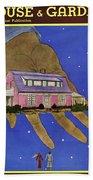 House & Garden Cover Illustration Of A Giant Hand Beach Sheet