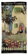 House & Garden Cover Illustration Of An Beach Towel