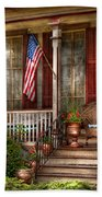 House - Porch - Belvidere Nj - A Classic American Home  Beach Towel