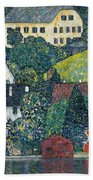 Houses At Unterach On The Attersee Beach Towel
