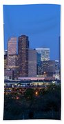 Houston Night Skyline Beach Towel