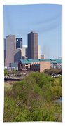 Houston Skyline And Buffalo Bayou Beach Towel