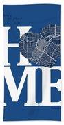 Houston Street Map Home Heart - Houston Texas Road Map In A Hear Beach Towel