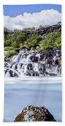 Hraunfossar Iceland Beach Towel