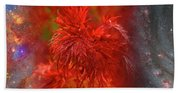 Hubble Galaxy With Red Maple Foliage Beach Towel