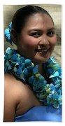 Hula Blue Beach Sheet by James Temple