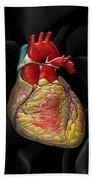 Human Heart On Black Velvet Beach Towel