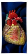 Human Heart On Blue Velvet Beach Towel