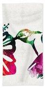 Hummingbird Art - Tropical Chorus - By Sharon Cummings Beach Sheet