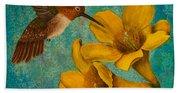 Hummingbird With Yellow Jasmine Beach Towel