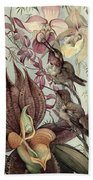 Hummingbirds And Orchids Beach Towel