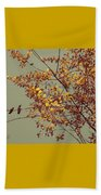 Hummingbirds On Yellow Tree Beach Sheet