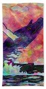 Humpback Whale Digital Color Beach Towel