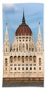 Hungarian Parliament Building In Budapest Beach Towel