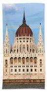 Hungarian Parliament Building In Budapest Beach Sheet
