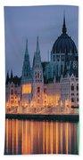 Hungarian Parliament Dawn Beach Towel