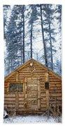 Hunting Cabin In Alberta Beach Towel