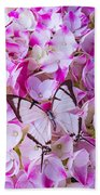 Hydrangea With Bright White Butterfly Beach Towel