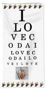 I Love Coda Eye Chart Beach Towel