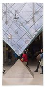 I M Pei Pyramid Inside The Louvre Entrance Beach Towel