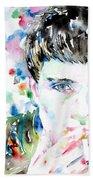 Ian Curtis Smoking Cigarette Watercolor Portrait Beach Towel by Fabrizio Cassetta