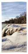 Ice Covered Shores Of Lake Michigan Beach Towel