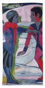 Ice Skaters  Beach Towel by Ernst Ludwig Kirchner