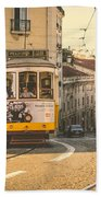 Iconic Lisbon Streetcar No. 28 Iv Beach Towel