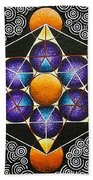 Icosahedron In A Metatron's Cube Beach Towel