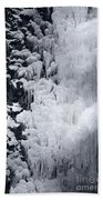 Icy Cliff - Black And White Beach Towel