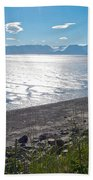 Icy-looking Kachemak Bay In Sunlight From Homer Spit-ak  Beach Towel