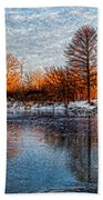 Icy Reflections At Sunrise - Lake Ontario Impressions Beach Towel