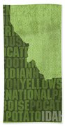 Idaho State Word Art Map On Canvas Beach Towel