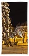 Idylic Winter Cityscape Evening In Snow Beach Towel