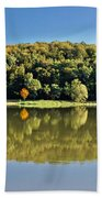 Idyllic Autumn Reflections On Lake Surface Beach Towel