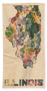 Illinois Map Vintage Watercolor Beach Towel